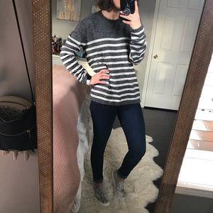Gap Gray Striped Sweater